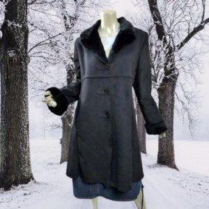 Levine Sport Black Faux Fur Suede Coat Washable Frock Style Large Fits Medium